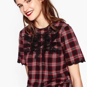 ZARA Red Plaid Black Embroidery Top Scalloped Hem